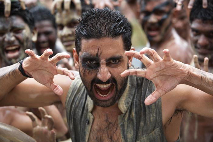 Abhishek Bachhan in the title role in Mani Ratnam's Raavan. This is a still from the song Thok de Killi