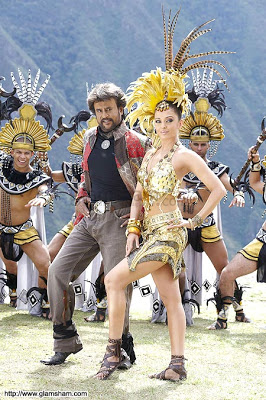Rajinikanth and Aishwarya Rai in the marvellous song Kilimanjaro in Robot. Check out those feathers!