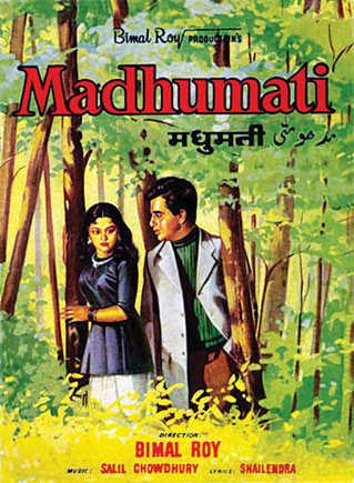 A poster of the film Madhumati, where Vyajayanthimala Bali played the role of a tribal girl (in one of her characters)