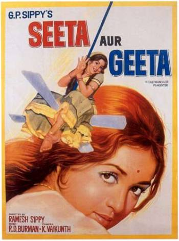 The poster of Seeta aur Geeta featuring Hema Malini in a double-role. In 1942, Nadia had appeared in a double role in the film Muquabla